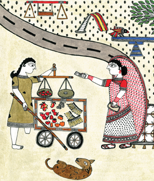 Hope is a Girl Selling Fruit, is a particular poignant narration published by Tara Books, where the choice of folk art style adds significant meaning to the story.