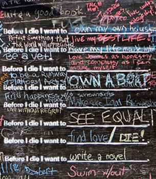 Before I Die is a global, community art project that publicly displays personal aspirations to build greater connections within a community.