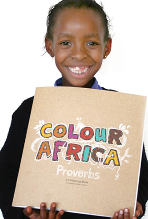 Colour Africa Proverbs is a colouring book for children, with illustrated proverbs from African culture on valuable, universal truths like respect, compassion and teamwork.