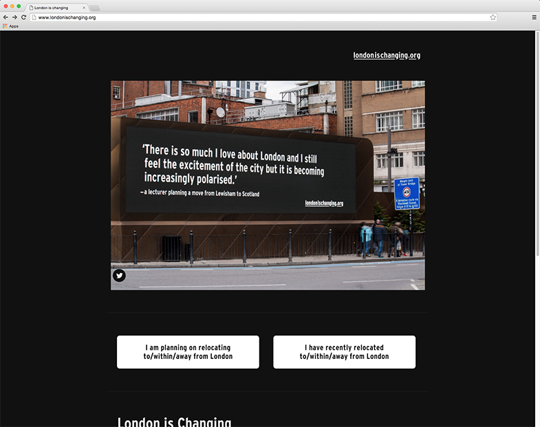 London is Changing website